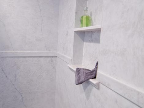 Charmant Carrara Series Sterling Silver Recessed Shelf Carrara Cultured Marble In ...
